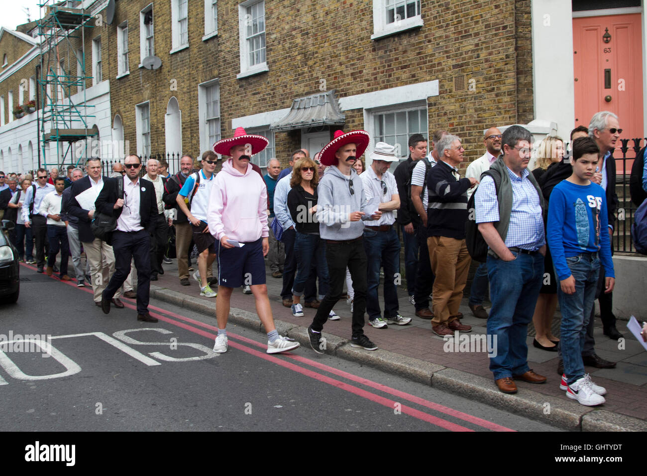 Vauxhall London UK. 11th August 2016. Cricket fans wearing Mexican sombreros arrive for the fourth test match between Stock Photo