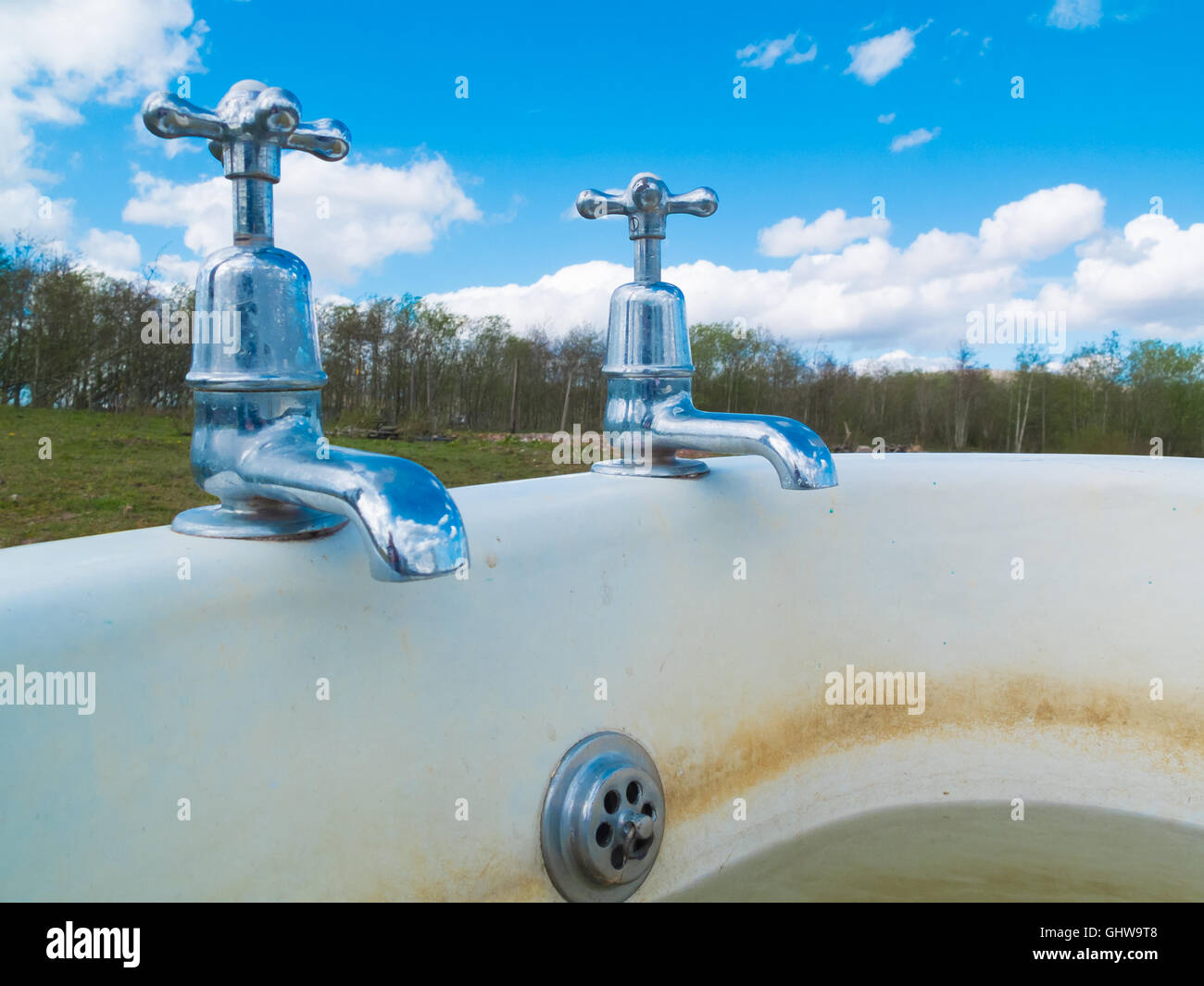 old style chrome bath taps in the countryside Stock Photo: 114267896 ...