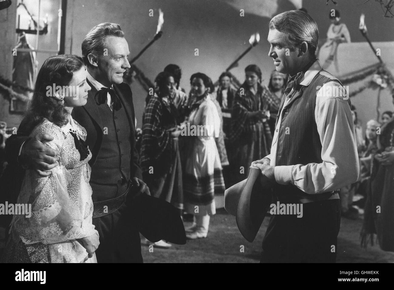 DER MANN AUS LARAMIE- CATHY O'DONNELL (Barbara Waggoman) ARTHUR KENNEDY (Vic Hanbro) JAMES STEWART (Will Lockhart) - Stock Image