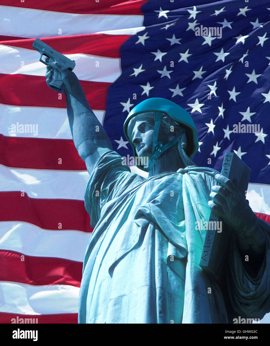 Statue of Liberty wearing army helmet and holding a pistol and an Atlas of the world, with stars and stripes background - Stock Image