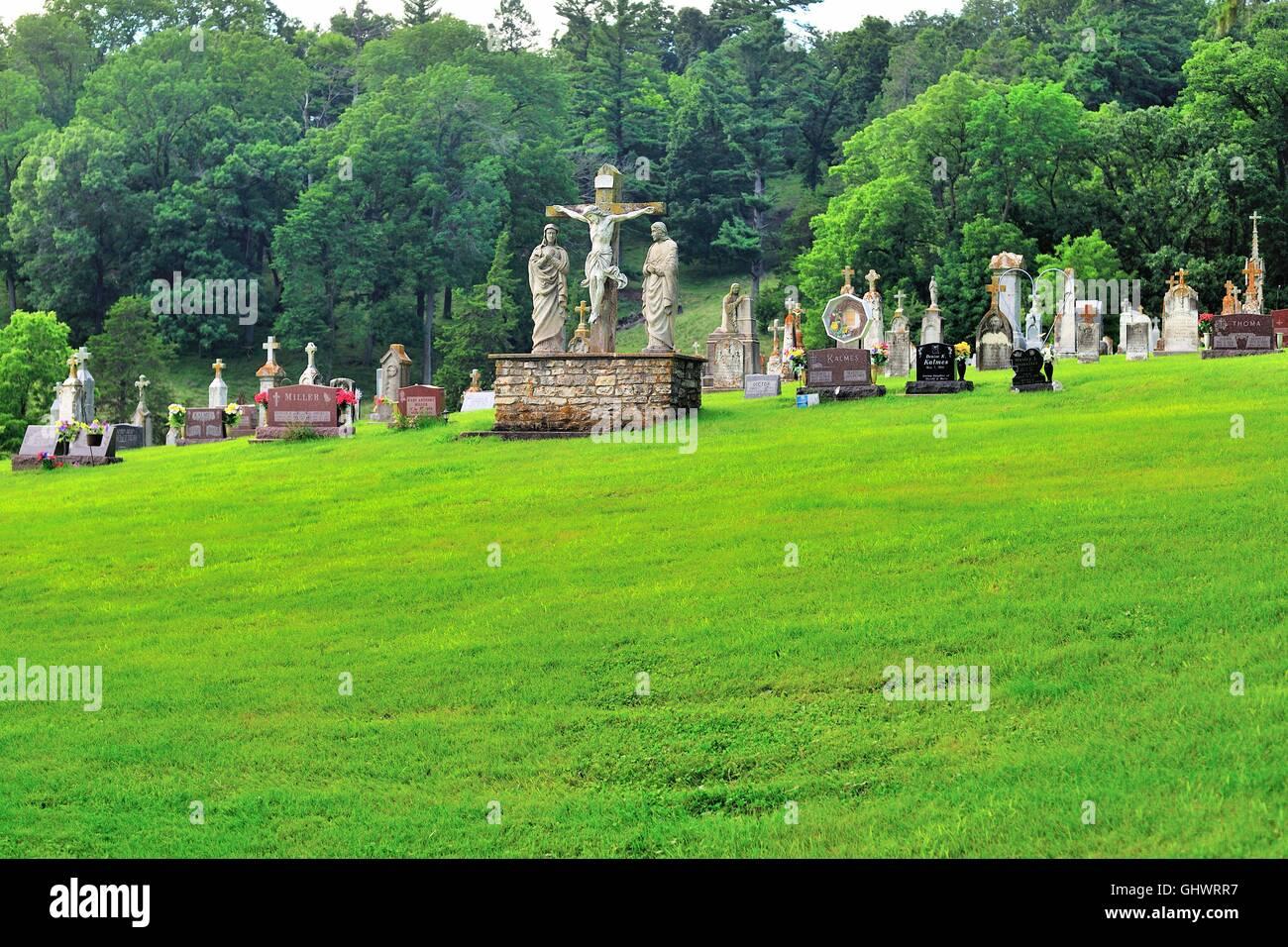The cemetery at St. Donatus Catholic Church in St. Donatus, Iowa, USA. Stock Photo