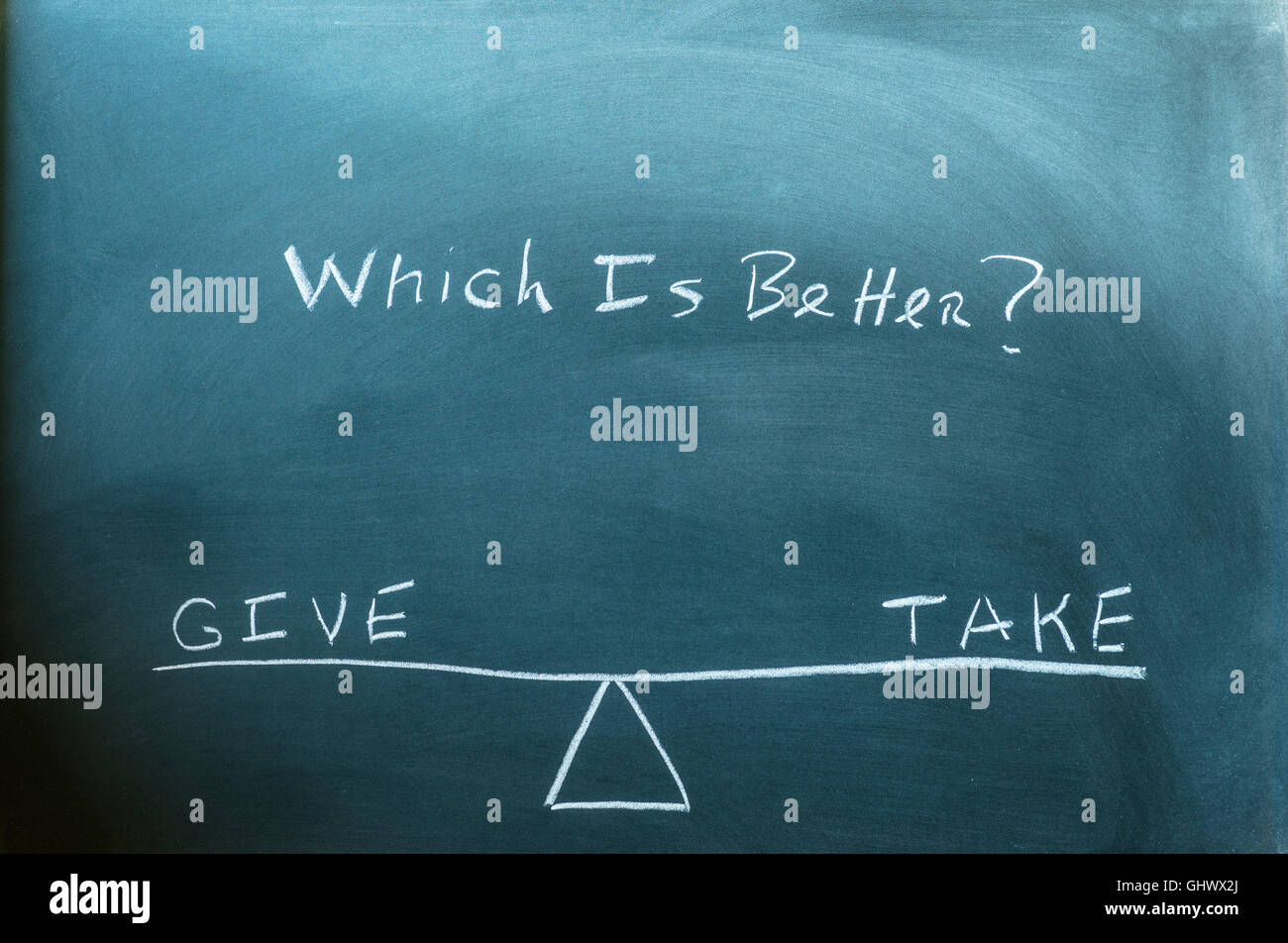 the words give and take on a scale in equilibrium written on a chalkboard. - Stock Image