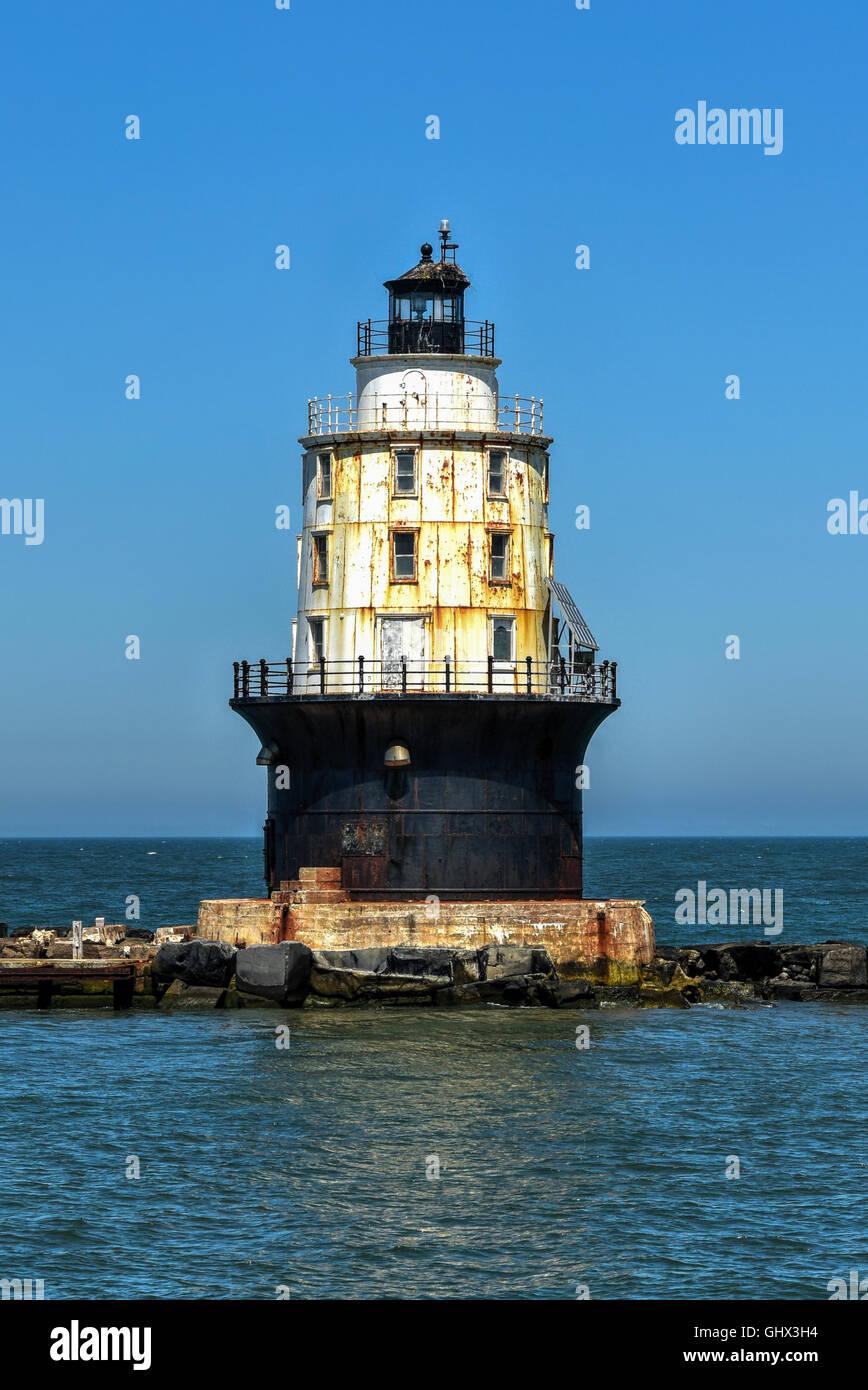 Harbor of Refuge Light Lighthouse in the Delaware Bay at Cape Henlopen. It was originally named Harbor of Refuge Stock Photo