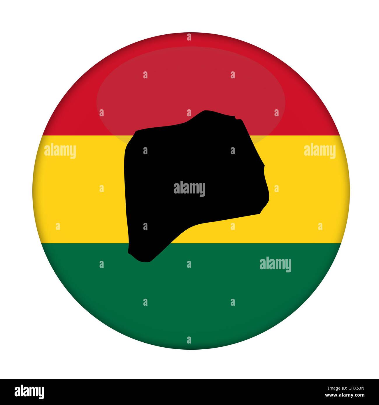 Rwanda map on a Rastafarian flag button, white background. - Stock Image