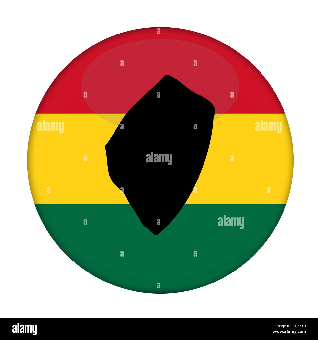 Swaziland map on a Rastafarian flag button, white background. Stock Photo