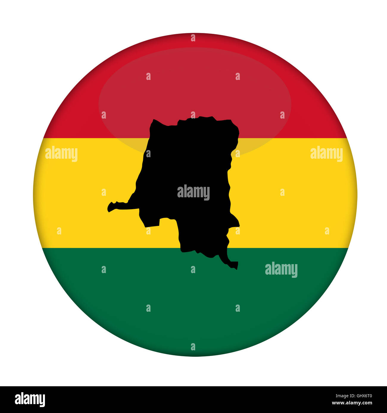 Zaire map on a Rastafarian flag button, white background. - Stock Image