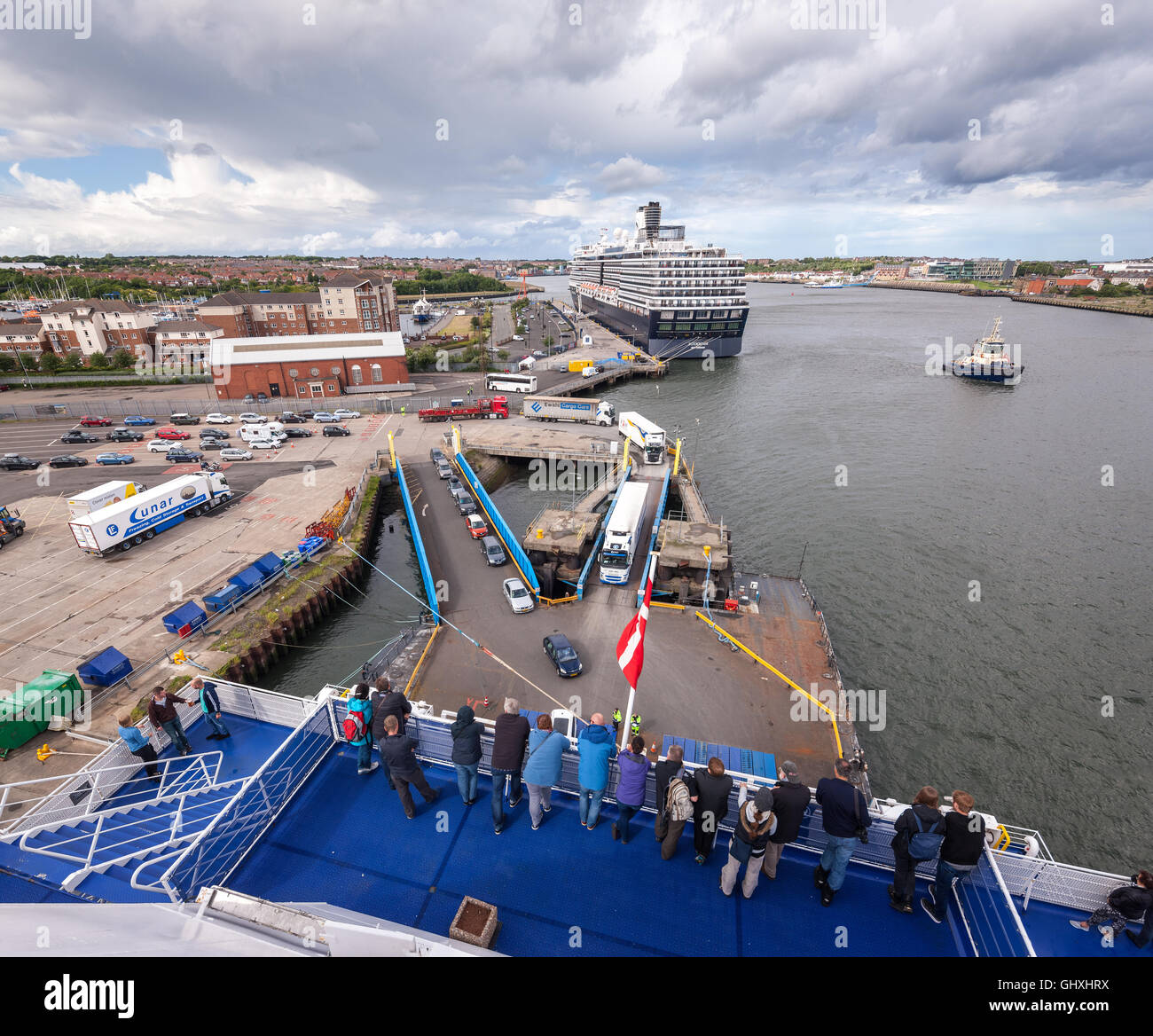 Newcastle Port of Tyne Royal Quays Ferry and Cruise ship terminal in North Shields. DFDS Ferry and Holland America - Stock Image