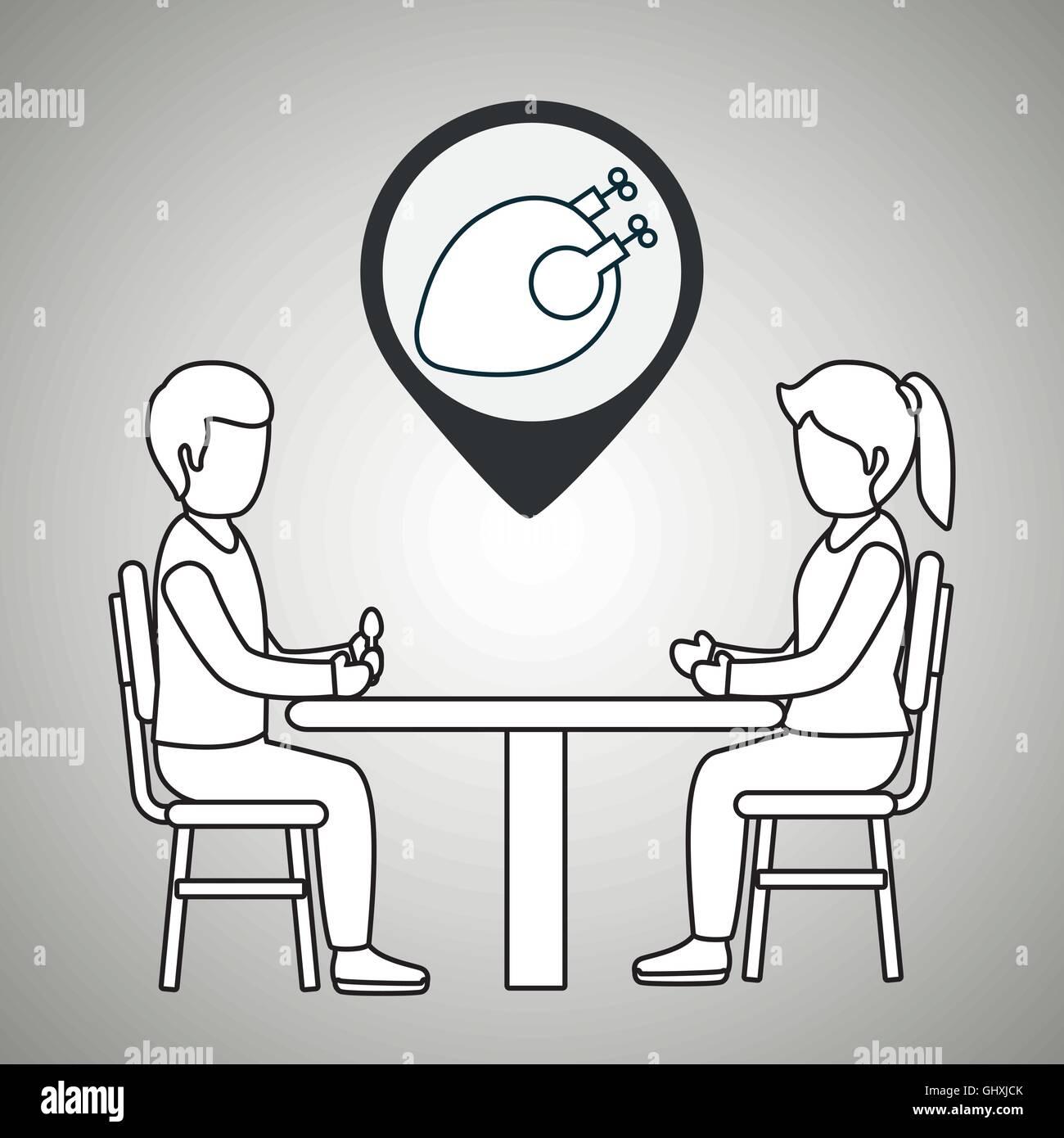 couple sitting dinner - Stock Vector