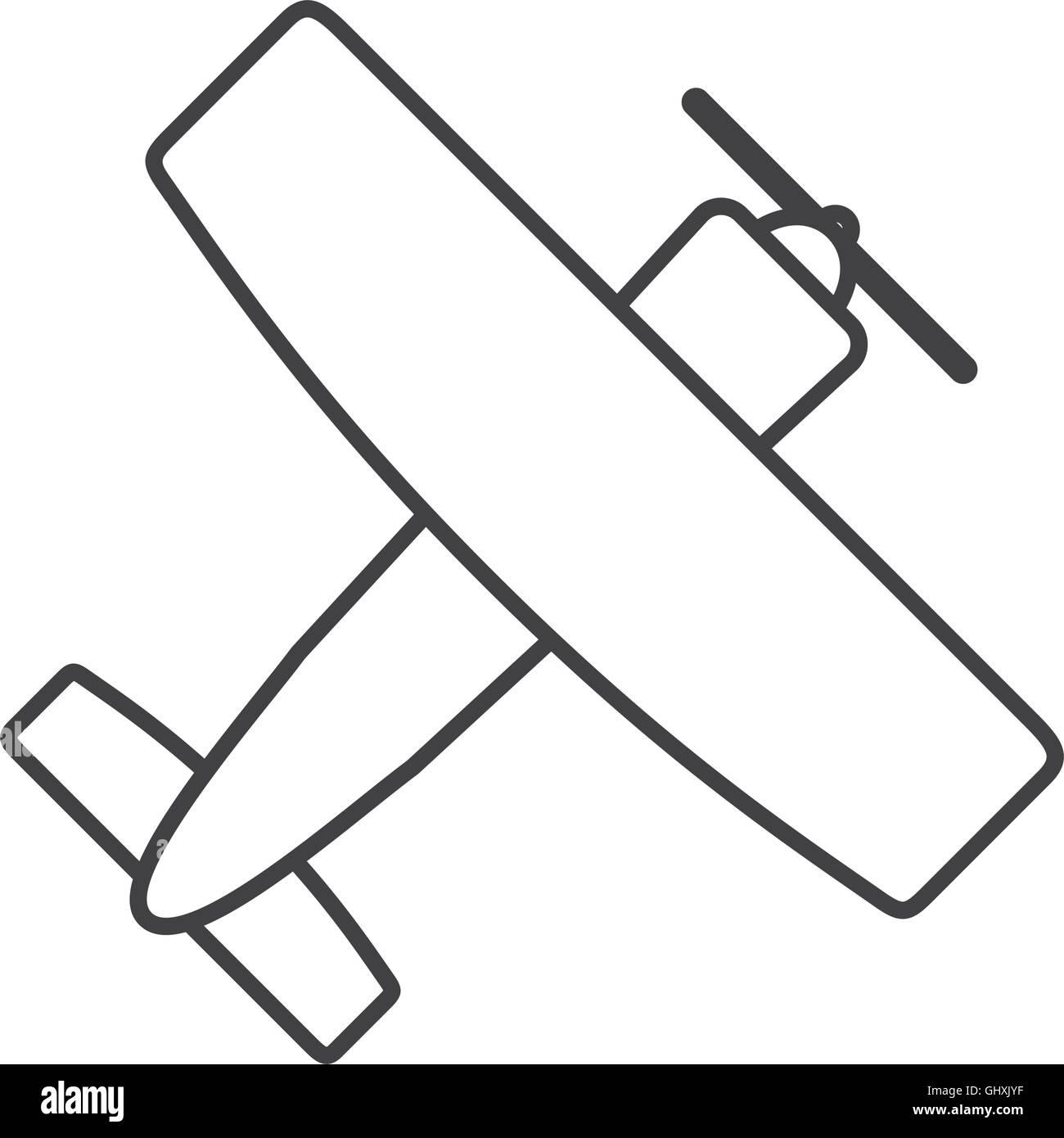 aerobatic or trainer airplane icon - Stock Image