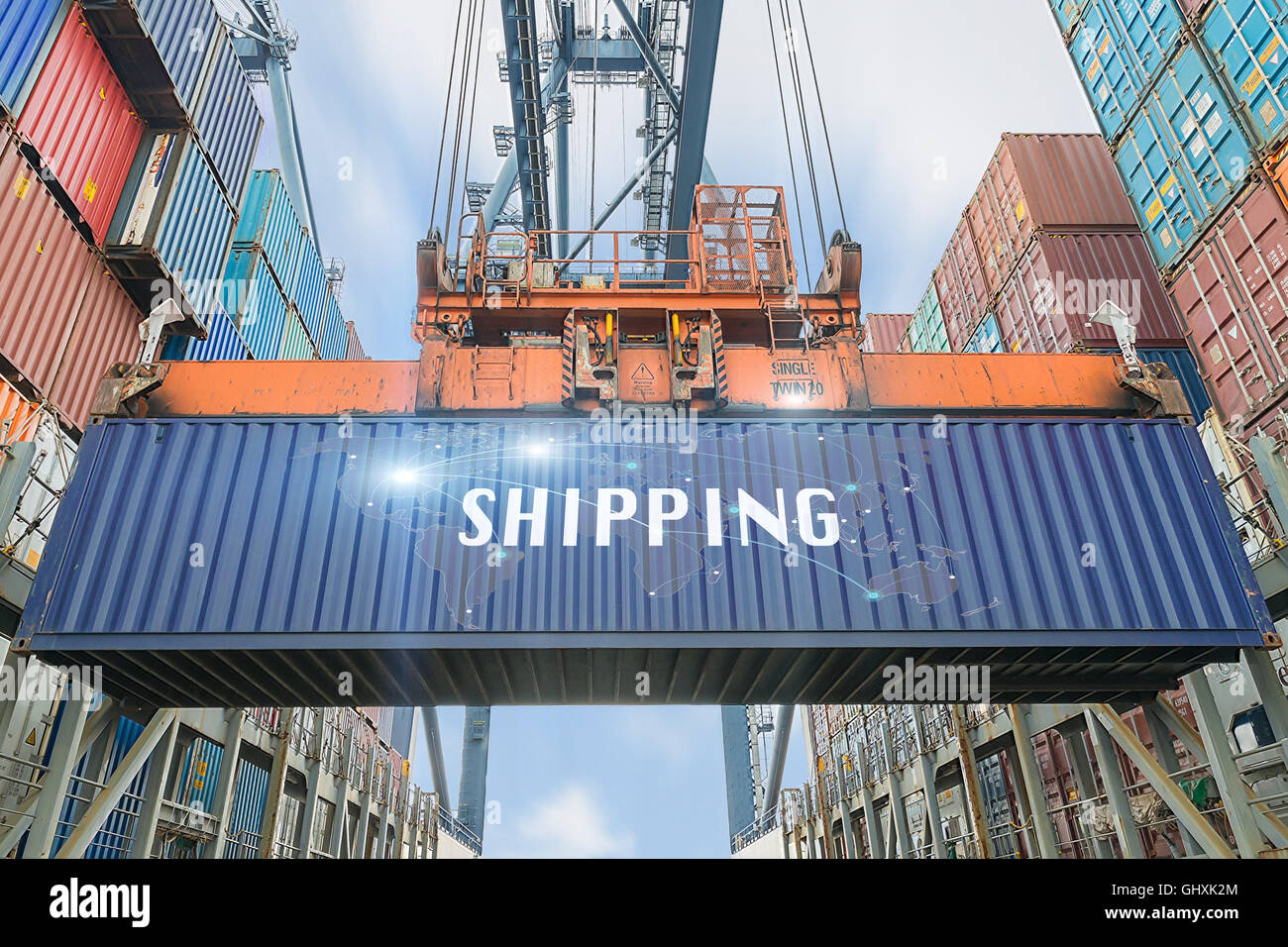 Loading containers box from cargo freight ship with big crane use for import,export,Logistics background.(Elements - Stock Image