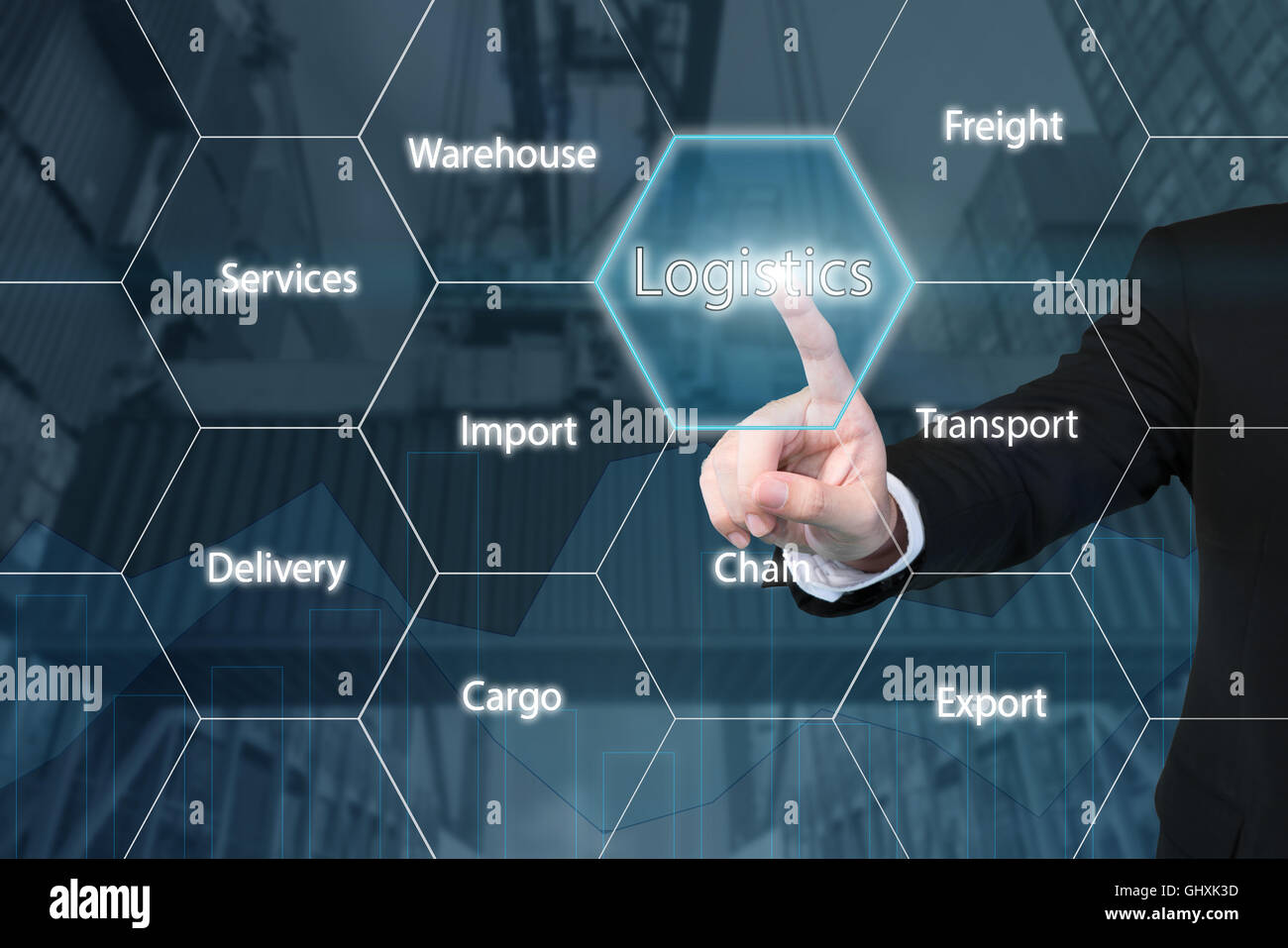 Business man touching the logistics icon with business success virtual screen - Stock Image