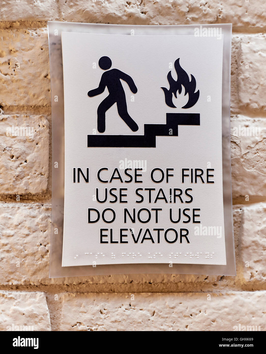 In Case Of Fire Use Stairs Do Not Use Elevator Warning