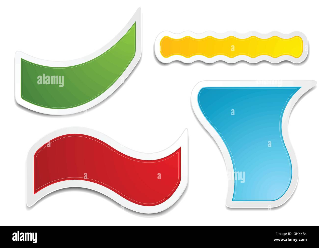 Bright web stickers vector design. Collection of colorful wavy Stock ...
