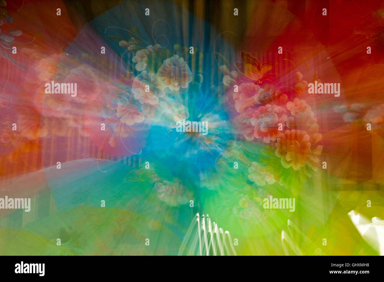 Abstract or blurring colors, spinning umbrellas - Stock Image