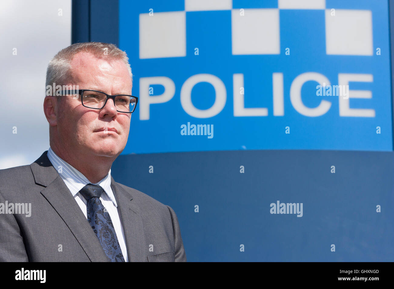 Edinburgh, UK. Police press conference portraiture of Detective Chief Inspector Keith Hardie. Pako Mera. - Stock Image