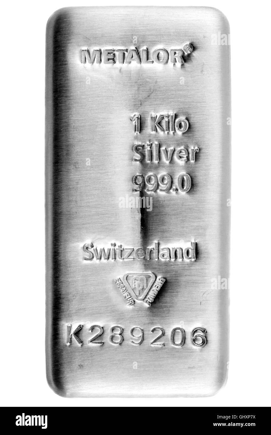 1 Kilo Metalor Fine Silver Bullion Bar - Stock Image