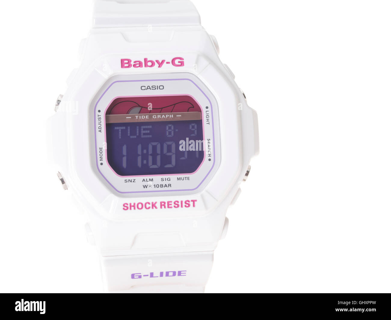 Casio Baby-G G-shock digital sports watch with tide graph - Stock Image