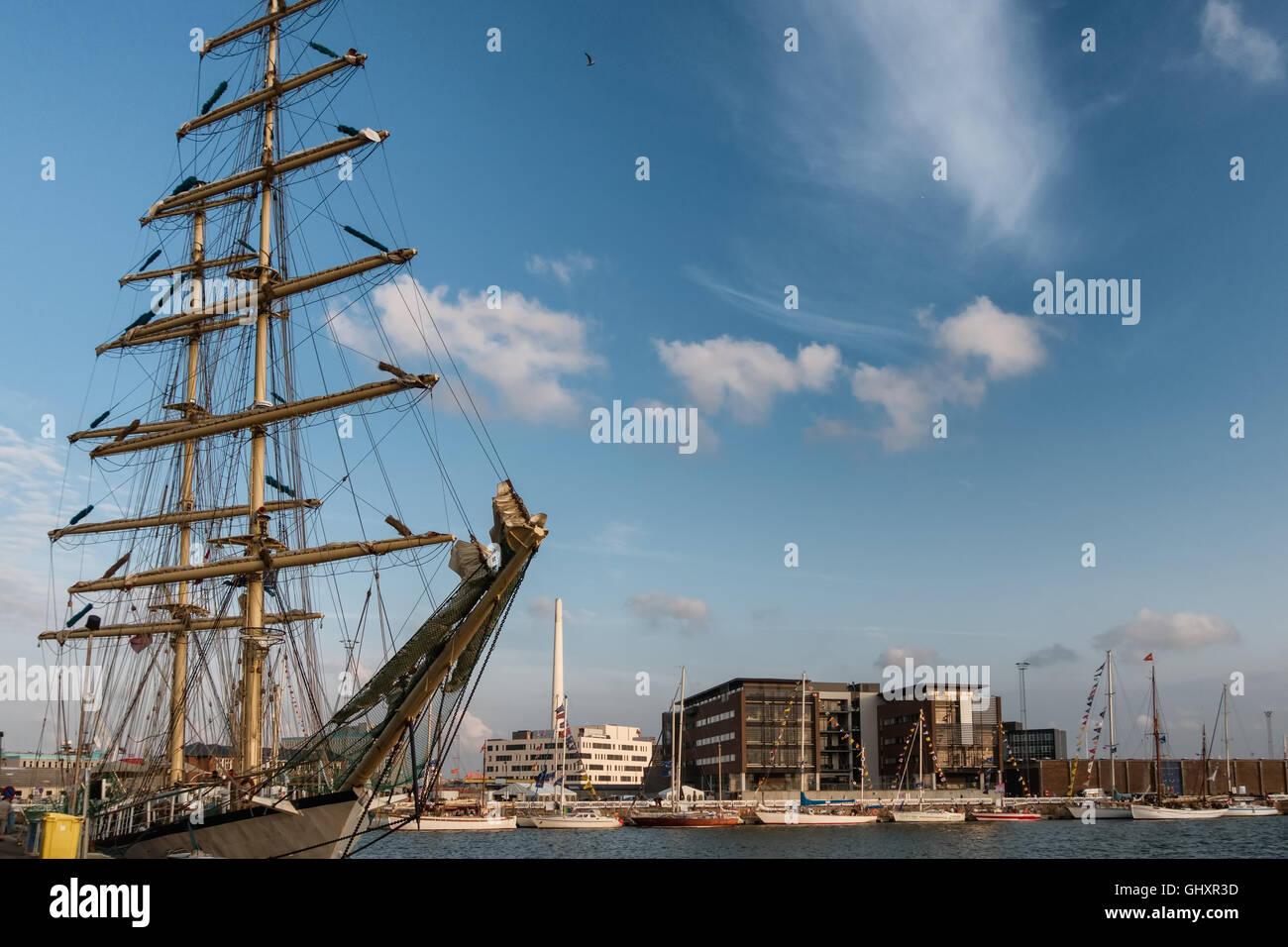 Tall ships race in Esbjerg harbor, Denmark - Stock Image