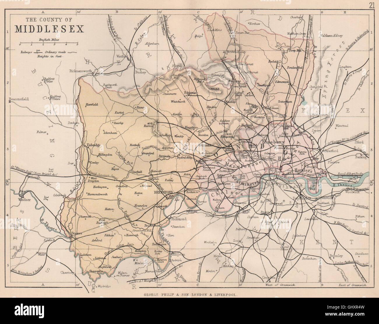Antique county map BR DAVIES 1863 Railways MIDDLESEX /& LONDON PARISHES
