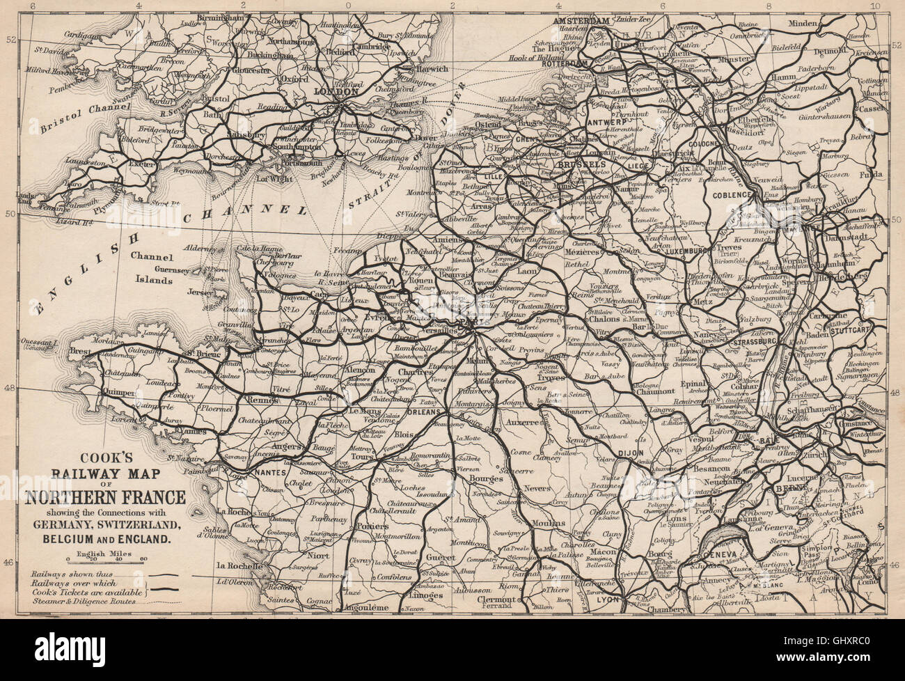 Map Of France Germany Switzerland.Nw Europe Railways France Germany Switzerland Belgium Stock Photo