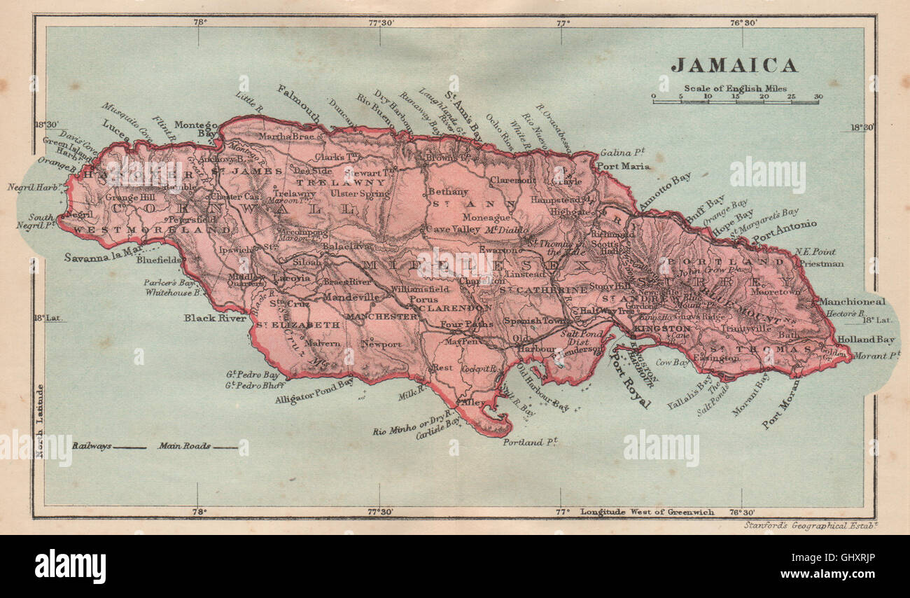 JAMAICA. Vintage map. West Indies. Caribbean, 1914 Stock Photo ...
