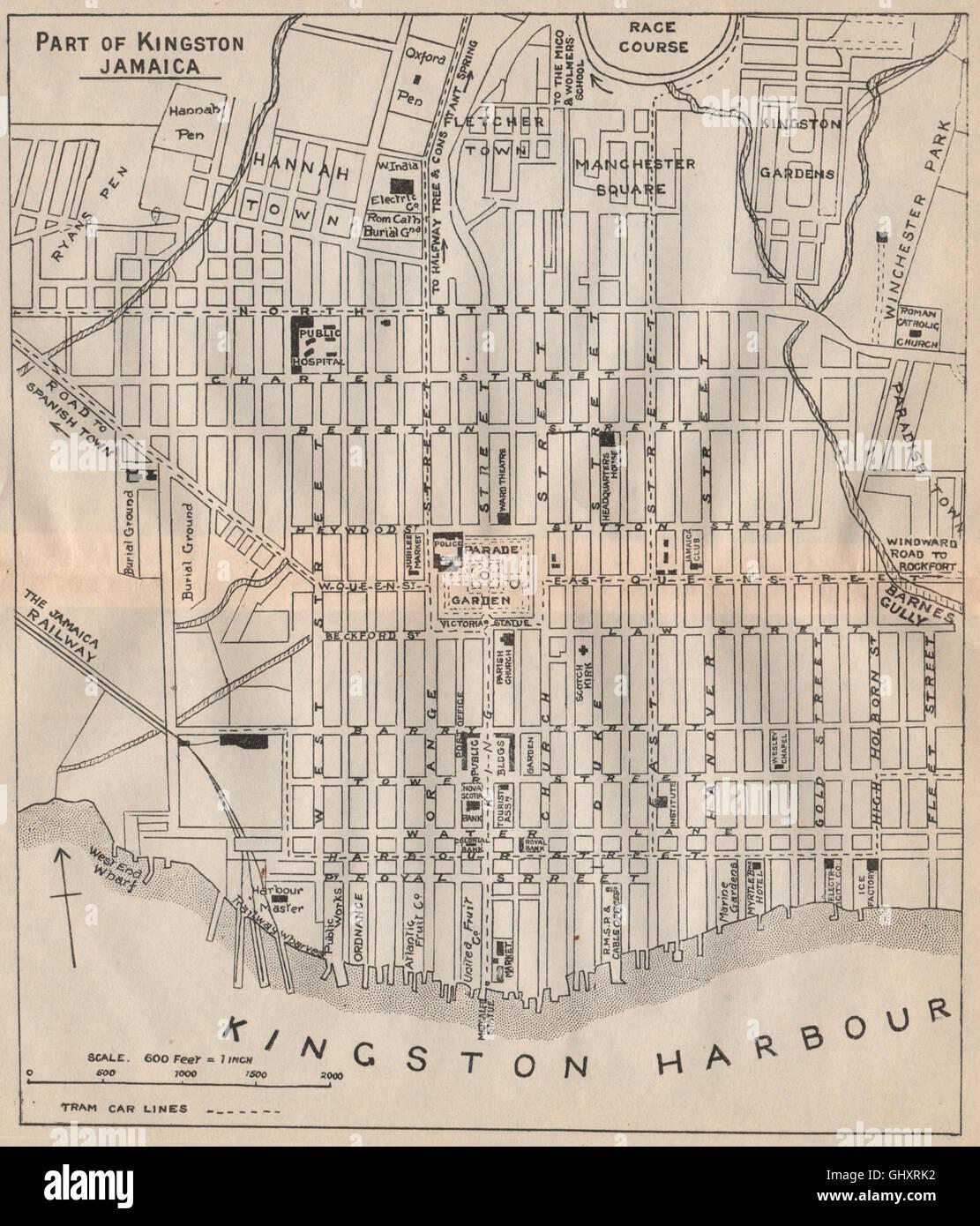 KINGSTON JAMAICA Vintage Town Plan West Indies Caribbean - Vintage map of jamaica
