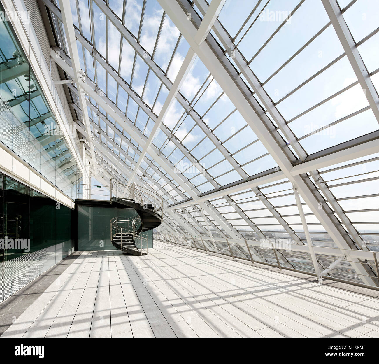 Roof Glazing Systems : Balcony canopied by sloped roof glazing mark lane