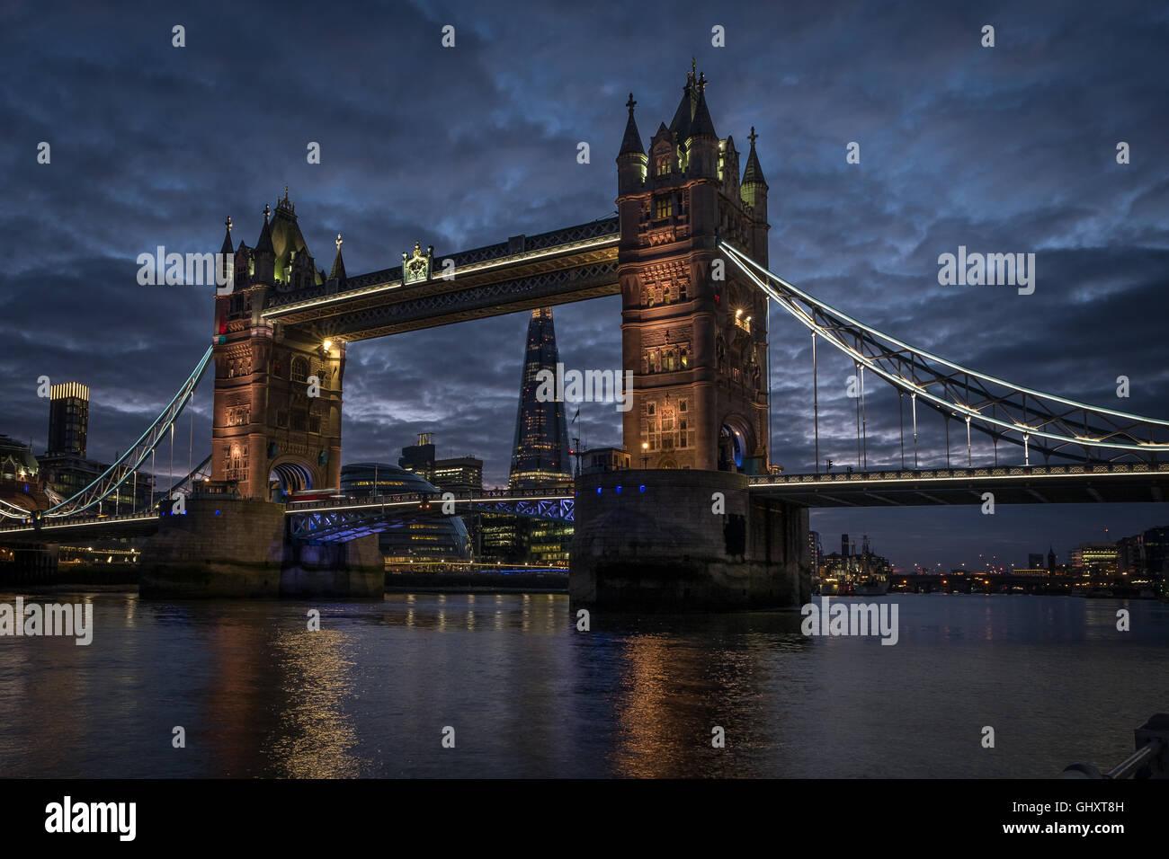 Tower Bridge London at night - Stock Image