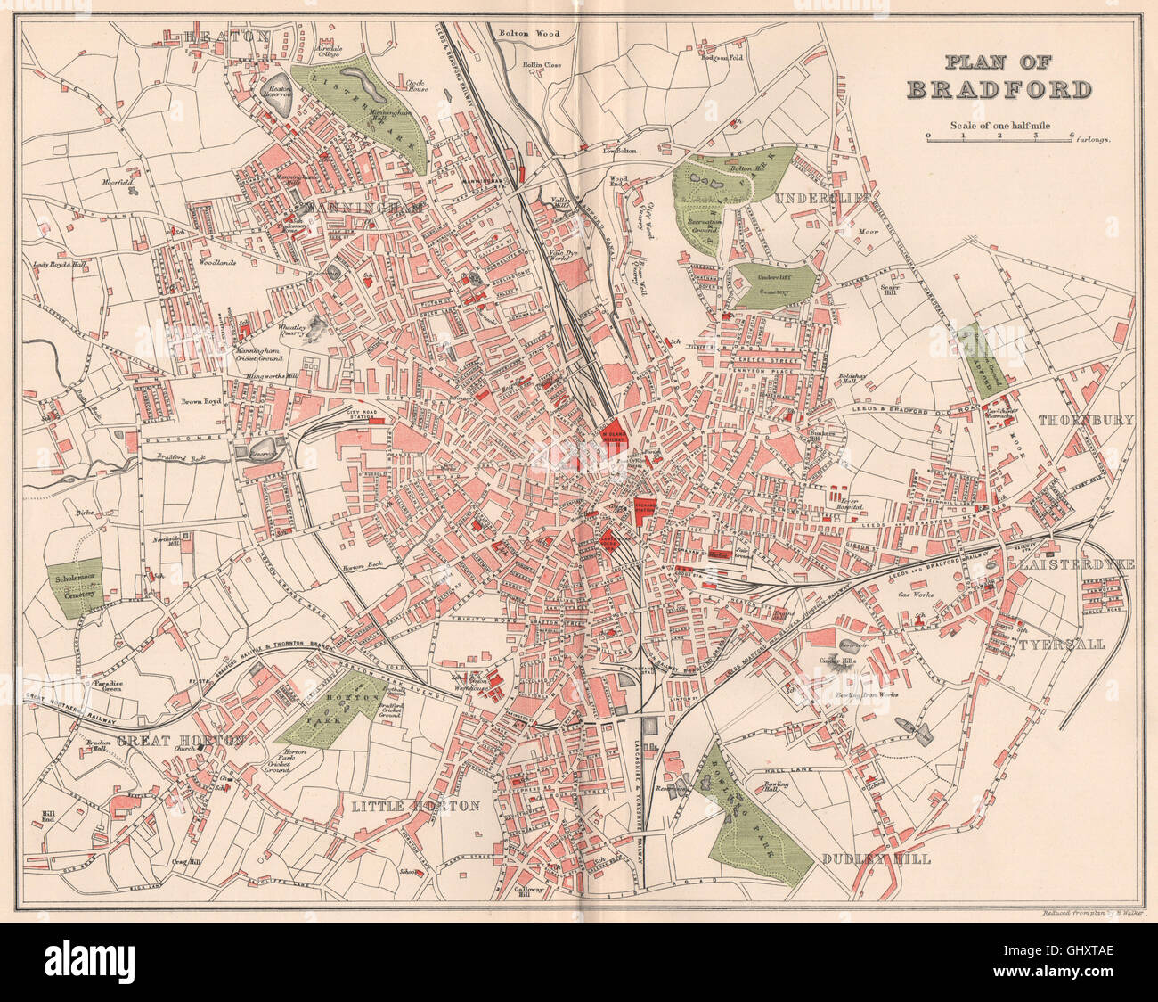 Bradford Yorkshire 1893 Old Chart Antique Town/city Map Plan