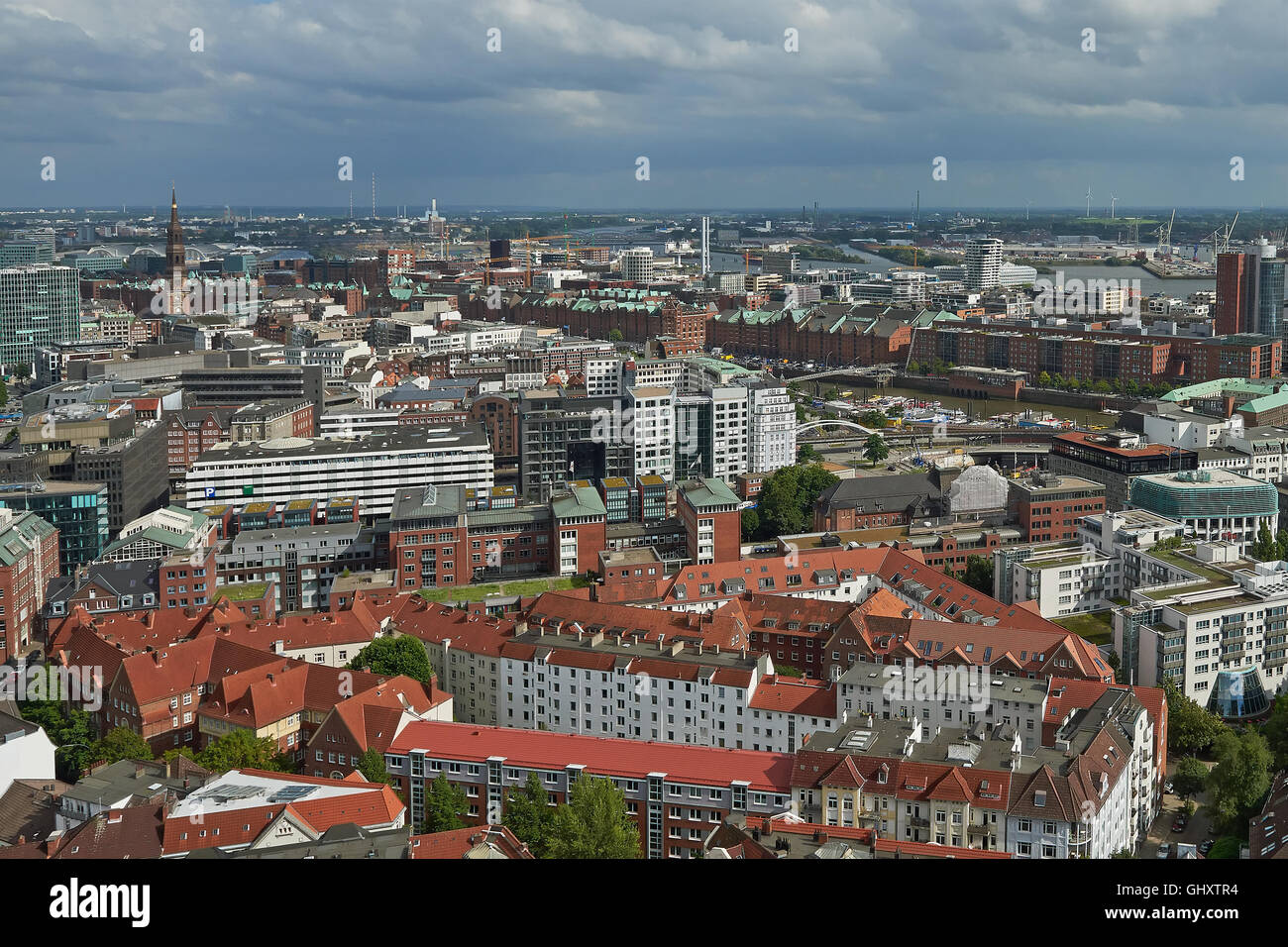 Aerial view of Hamburg city, Germany on a sunny day - Stock Image
