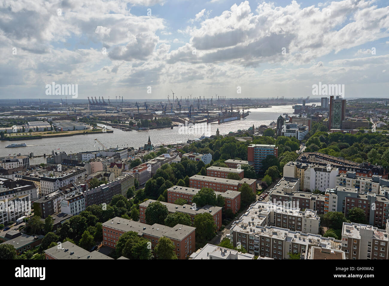 Aerial view of Hamburg harbour, Germany on a sunny day - Stock Image