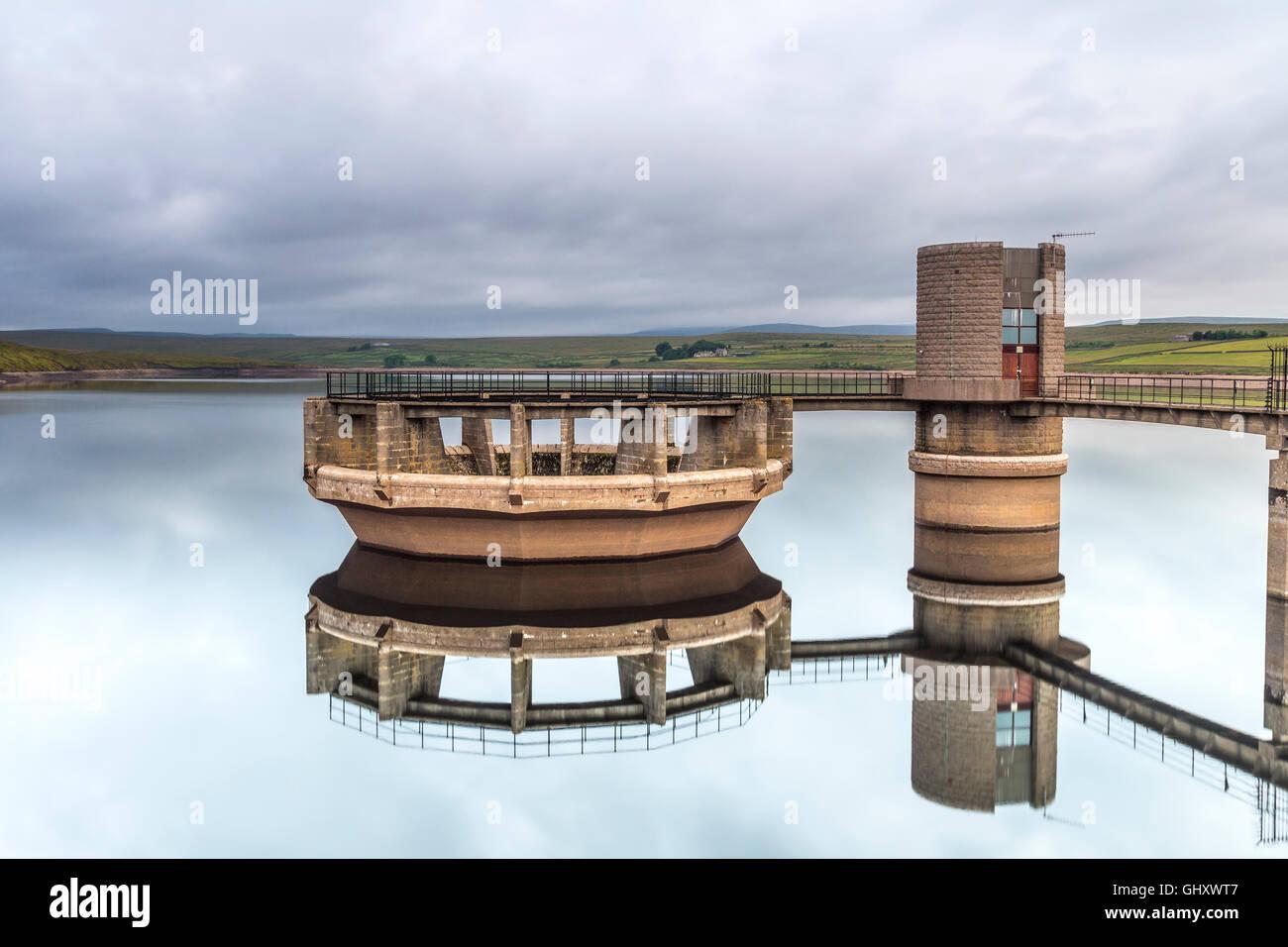 Overflow of Balderhead Reservoir in Dry Weather Baldersdale, Teedale, County Durham, UK - Stock Image