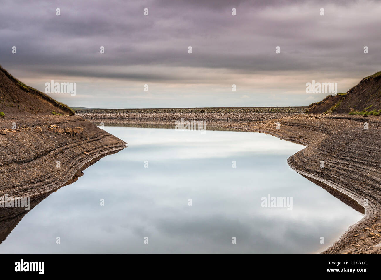 Dry Summer Weather Causing Low Water Levels at Balderhead Reservoir in the North Pennines, Baldersdale, Teesdale, - Stock Image