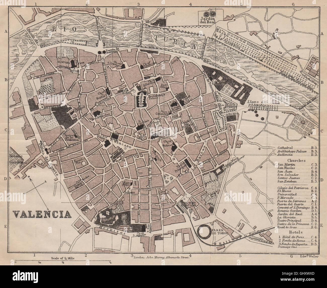 Mapa De La Ciudad De Valencia España.Valencia Antique Town City Plan Ciudad Spain Espana Murray