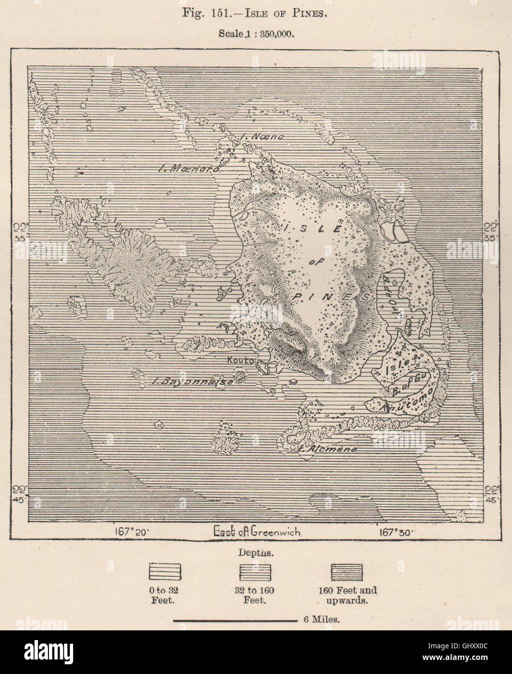 Isle of Pines. New Caledonia. Melanesia, 1885 antique mapStock Photo