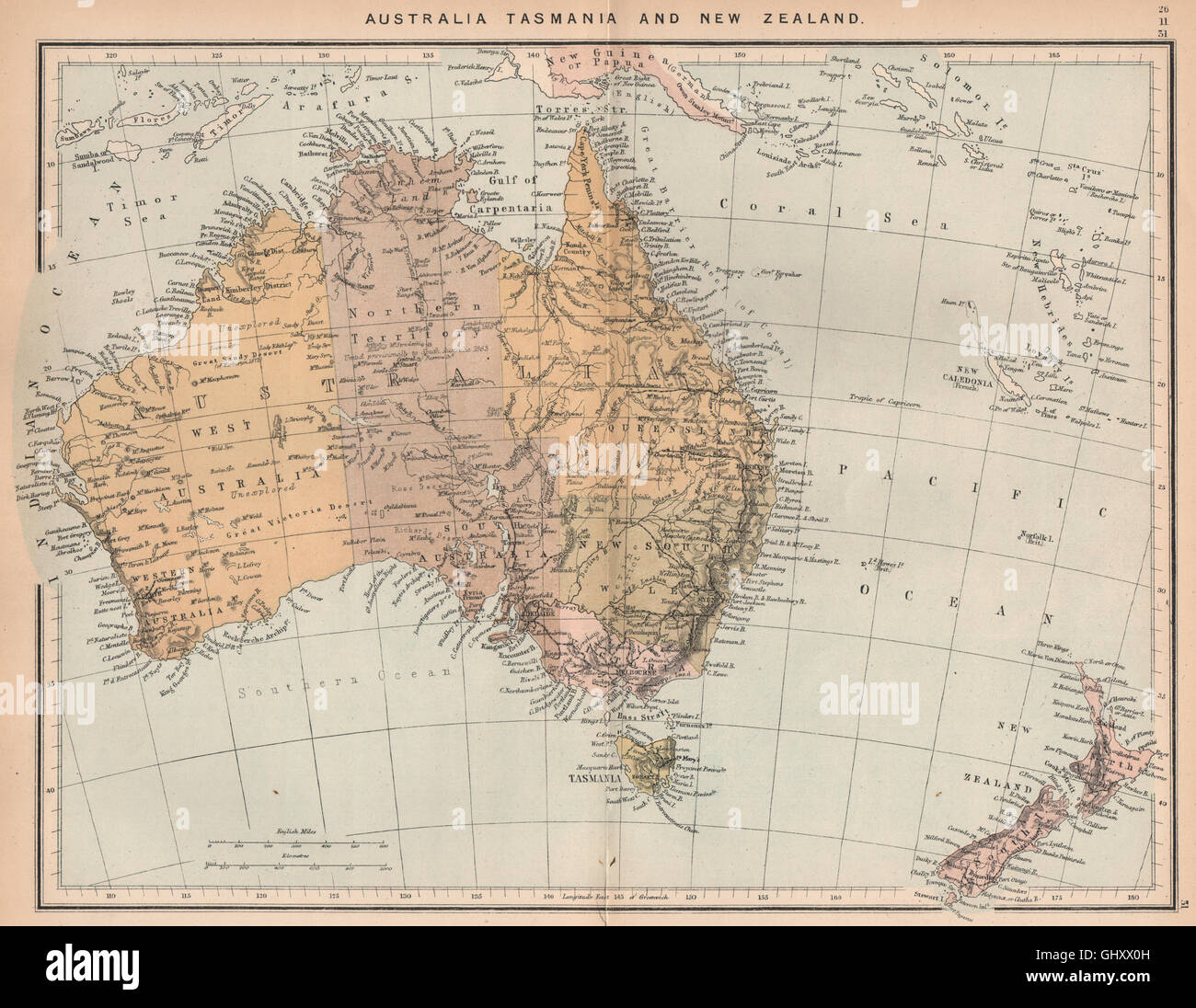 Map Of Australia Tasmania And New Zealand.Australia Tasmania And New Zealand Australasia 1885 Antique Map