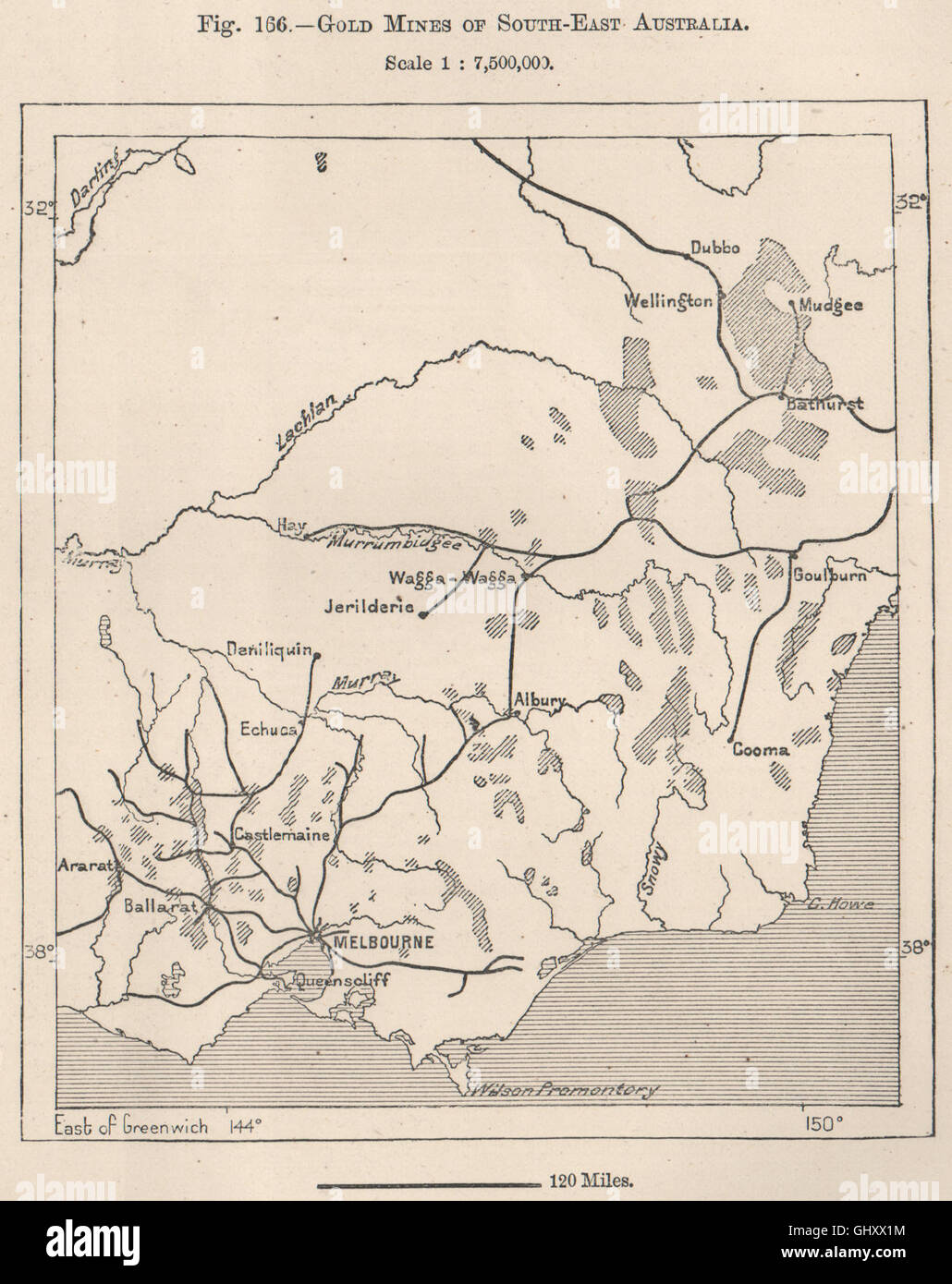Gold mines of South-East Australia, 1885 antique map - Stock Image