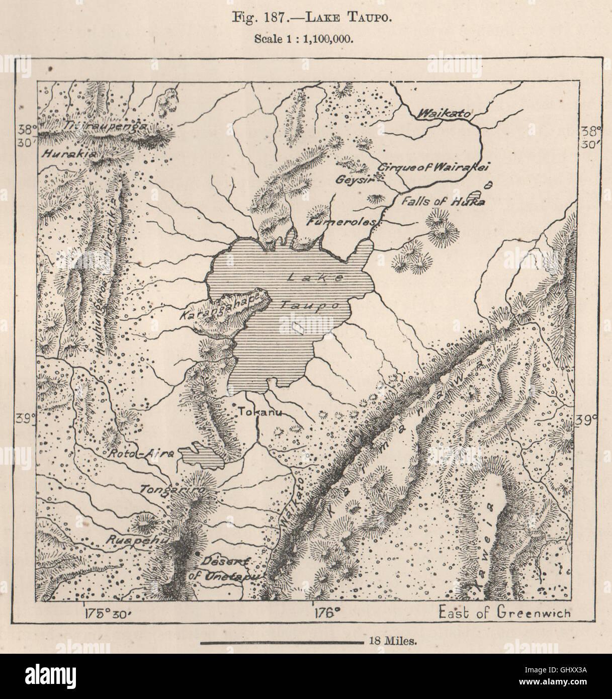 Taupo New Zealand Map.Lake Taupo New Zealand 1885 Antique Map Stock Photo 114302590 Alamy