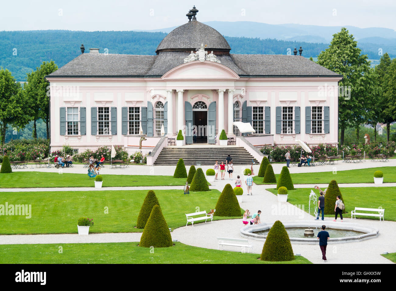 Baroque Garden Pavilion and people in park of Melk Abbey in Wachau Valley, Lower Austria - Stock Image