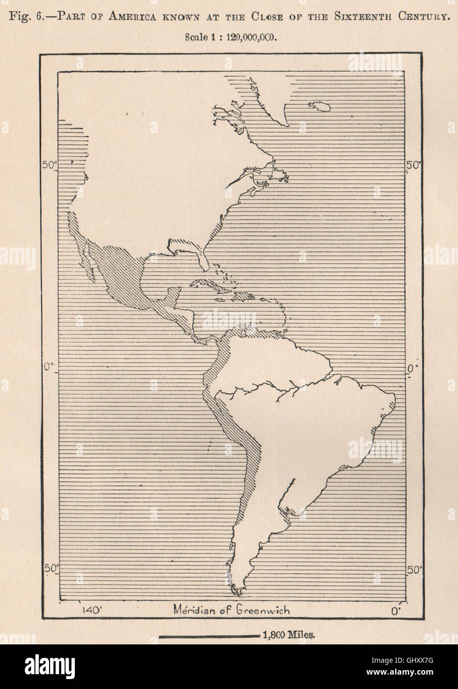 Part of America known at the close of the sixteenth century.Americas, 1885 map - Stock Image