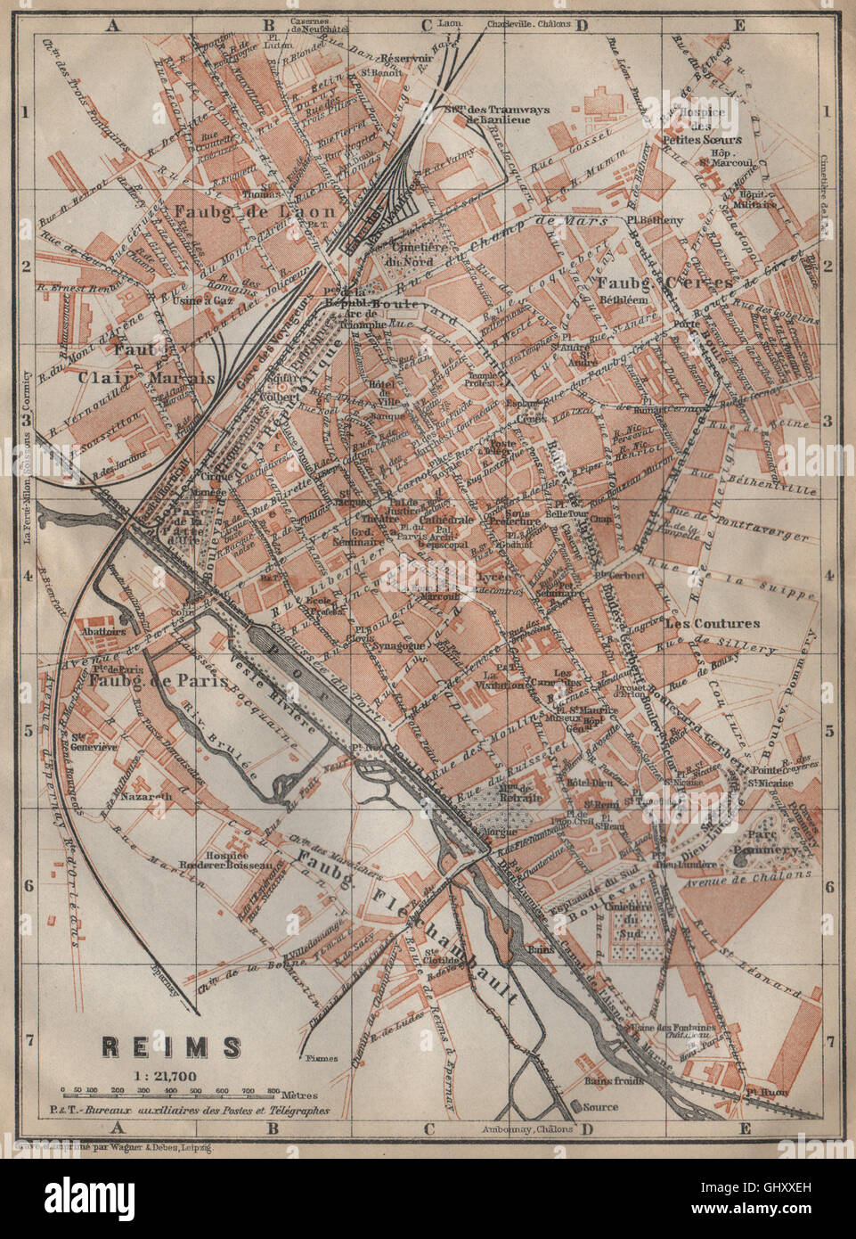 Reims Antique Town City Plan De La Ville Marne Carte Baedeker 1909 Stock Photo Alamy