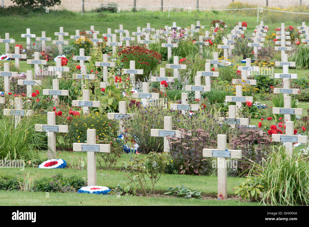 Crosses marking the graves of unknown soldiers at the Thiepval memorial - Stock Image