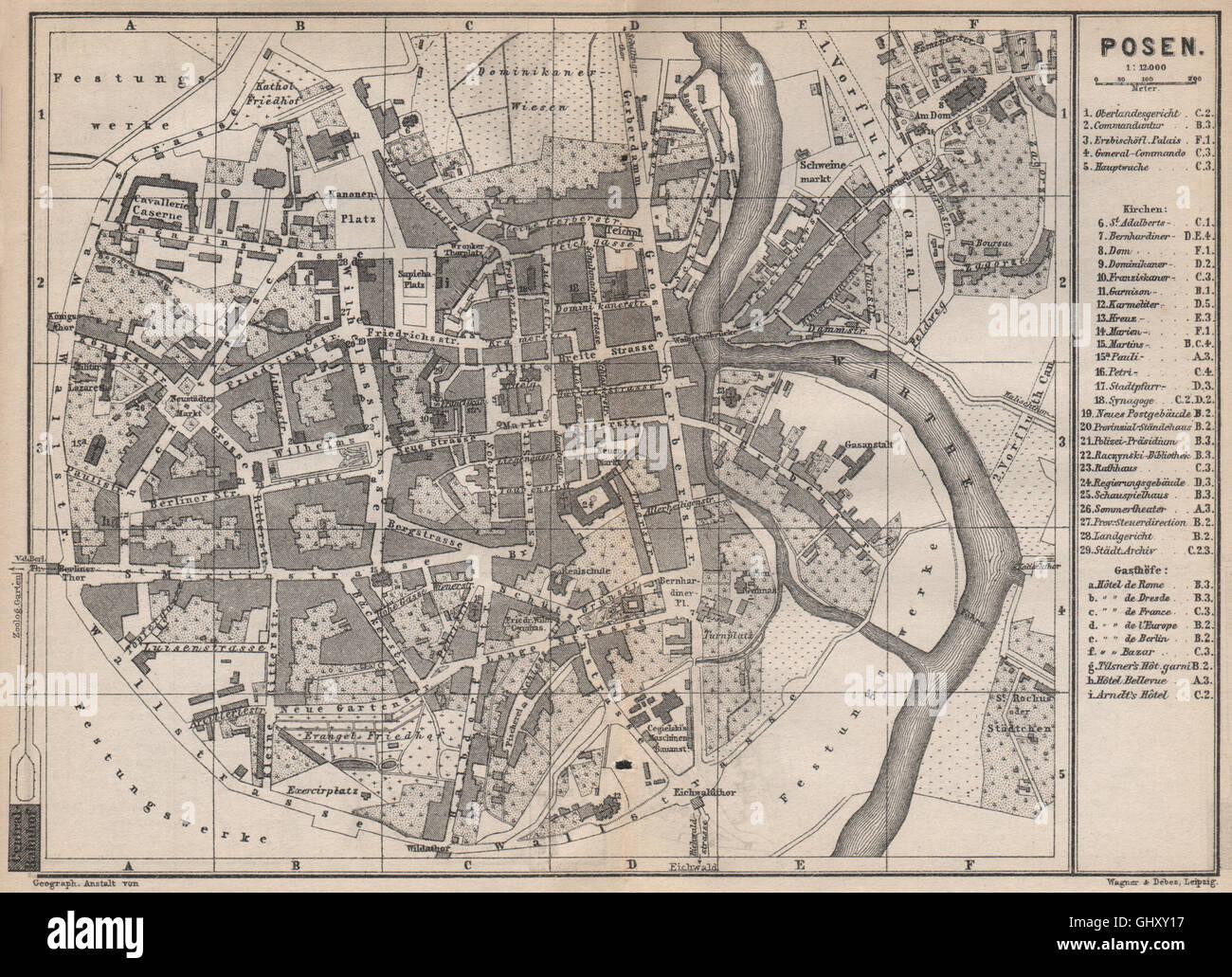 POSEN POZNAN antique town city plan miasta. Poznań. Poland mapa, 1886 - Stock Image