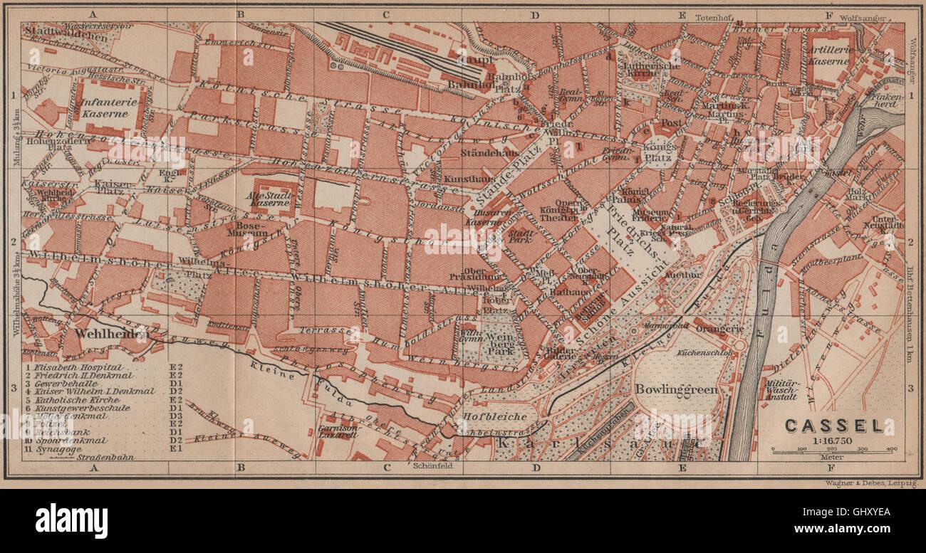 Map Of Germany 1900.Kassel Cassel Antique Town City Stadtplan Hesse Germany Karte