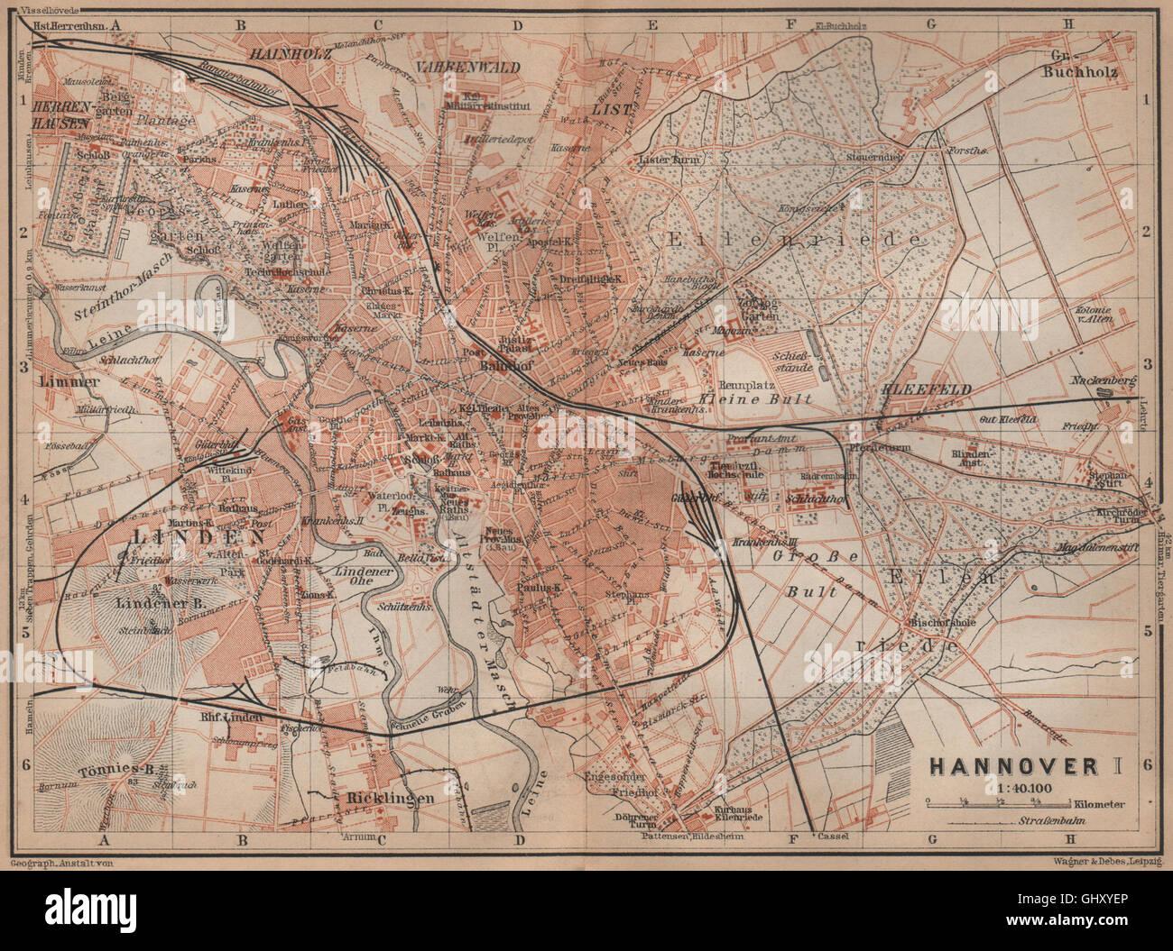 HANNOVER antique town city stadtplan I Hanover Lower Saxony karte
