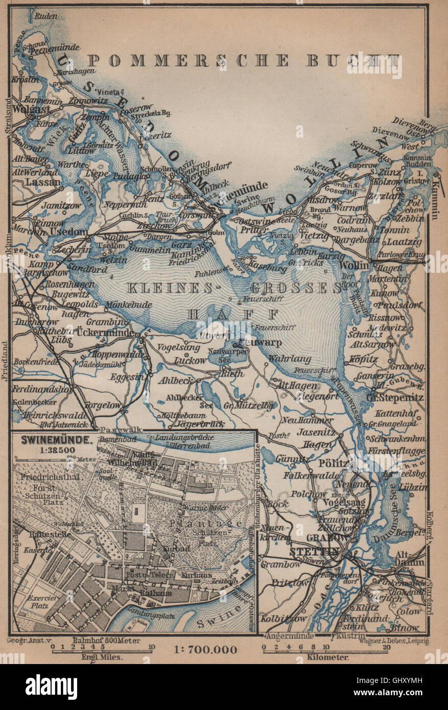 SWINOUJSCIE city plan & ZALEW SZCZECINSKI environs. Stettin Swinemünde, 1900 map Stock Photo