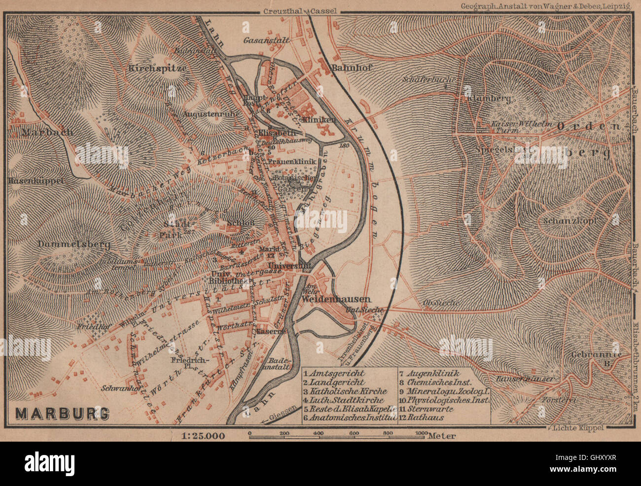 Marburg Antique Town City Stadtplan Hessen Karte Baedeker 1900