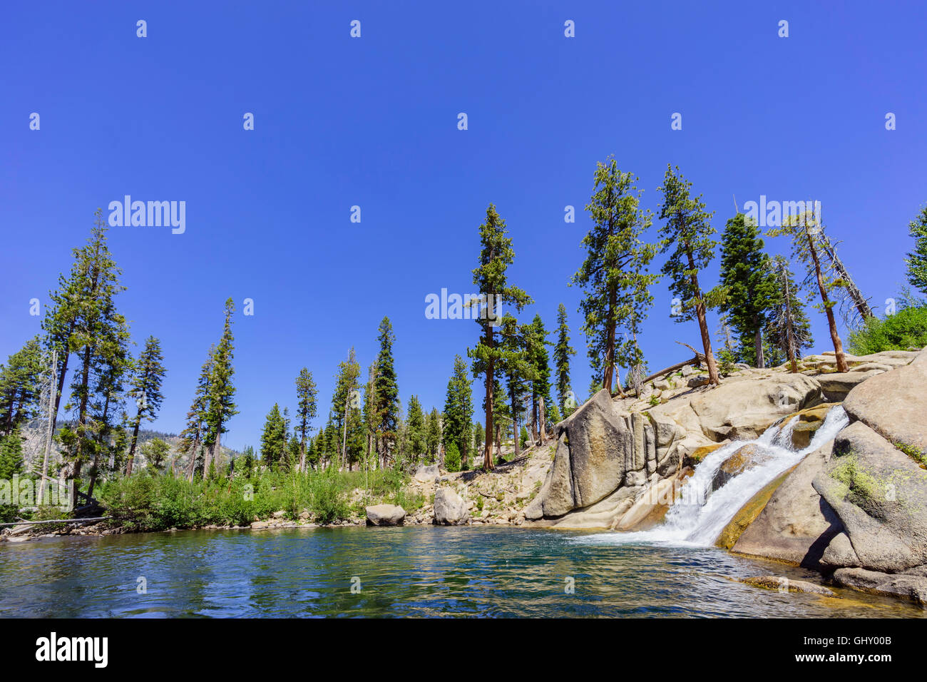 The beautiful Lower Fall in Devils Postpile National Monument - Stock Image