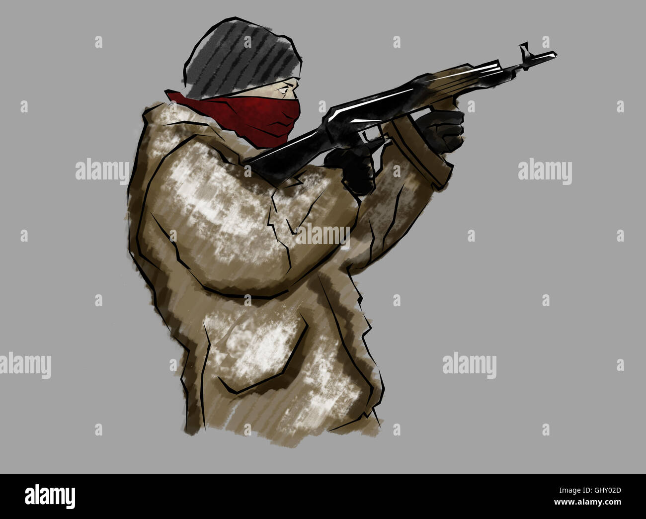 Fighter with rifle, in the act of shooting, hand drawn - Stock Image