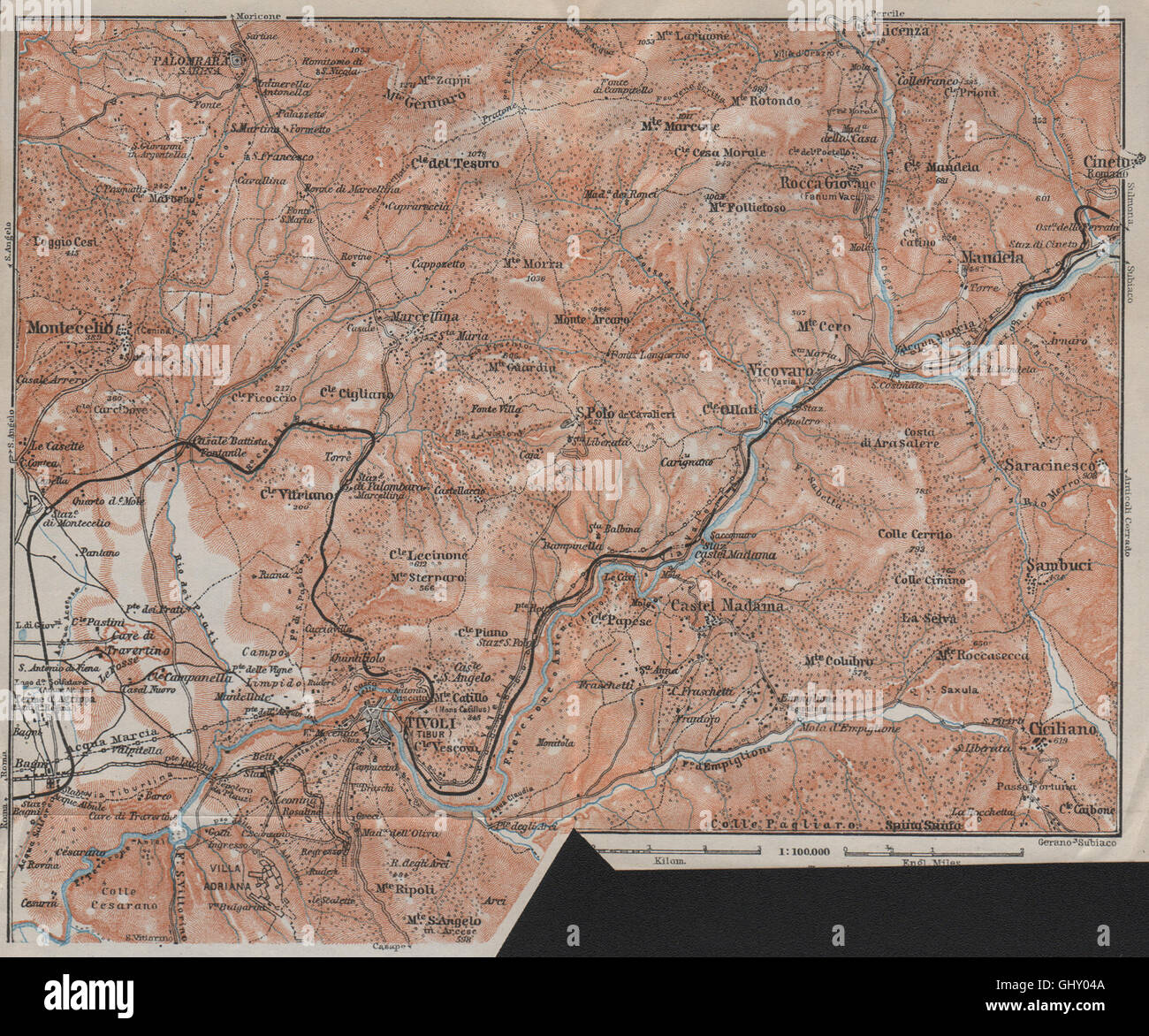 SABINA Tivoli AnieneTeverone river Montcelio topomap Italy mappa